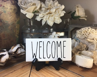 Rae Dunn Inspired WELCOME Sign Farmhouse Style Home Decor Rae Dunn Sign Farmhouse Sign Fixer Upper Decor Farm Decor Shabby Chic