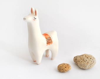 Cute Llama Figure with Orange Jacquard Blanket in White Ceramic. Ready To Ship