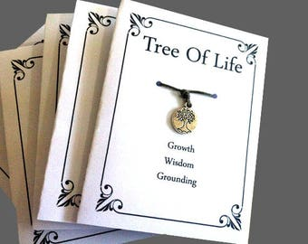 10 X Tree Of Life, Wish Bracelets, Charm Bracelets, Wish Cards, Birthday gifts, Stocking Filler, Hen Party, Friendship Bracelet,Souvenirs  ,