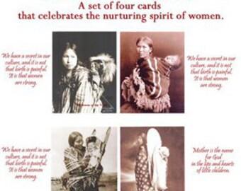 Native Mothers - set of 4 greeting cards honoring mothers, motherhood, babies, love, nurture, baby, maternity,