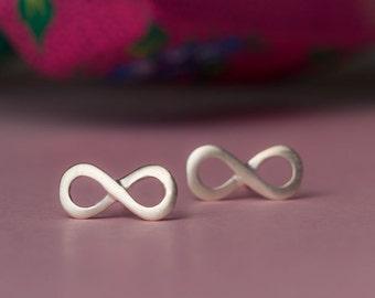 Rose Minimal Earrings Tiny Infinity Earrings in sterling silver Infinity studs Karma Earrings Dainty Jewelry Everyday Earrings