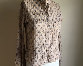 Vintage 70s Rare Laura Ashley Floral Blouse with Poet Sleeves