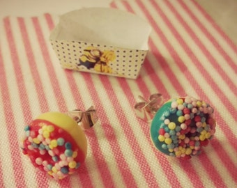 A pair of earrings of some delicious Donuts multicolored made of fimo Earrings Donuts multicolor polimer clay
