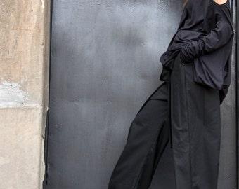 Loose  Black Pants / Wide Leg Pants Autumn Extravagant Collection A05115