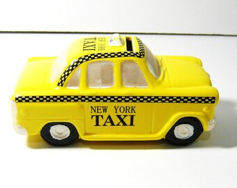 "VINTAGE YELLOW Ceramic NYC Taxi Cab 'Piggy""  Bank - 6"" long"