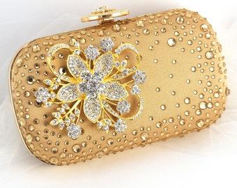 Gold Clutch, Golden, Crystal Clutch, Handbag, Purse, Bridal, Strap, Maid of Honor, Mother of the Bride, Rectangular, Brooch, Vintage Wedding