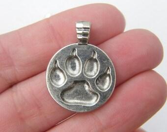BULK 20 Paw  print pendants antique silver tone A464