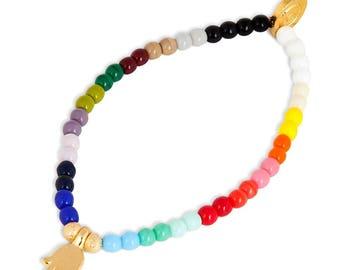 Mini Hamsa Hand Charm Rainbow Glass Bead Bracelet