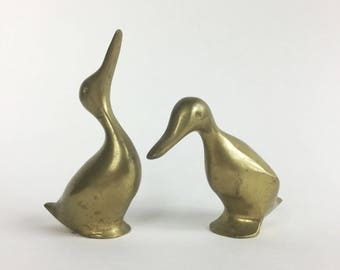 Brass Duck Statues - Antique Brass Pair of Bird Figurines - Cute Animal Couple - Simple Vintage Decor 60s 70s - Nature Decor - Solid Brass