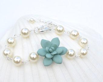 Dusty Mint Succulent Bracelet. Succulent and Pearls Bracelet.