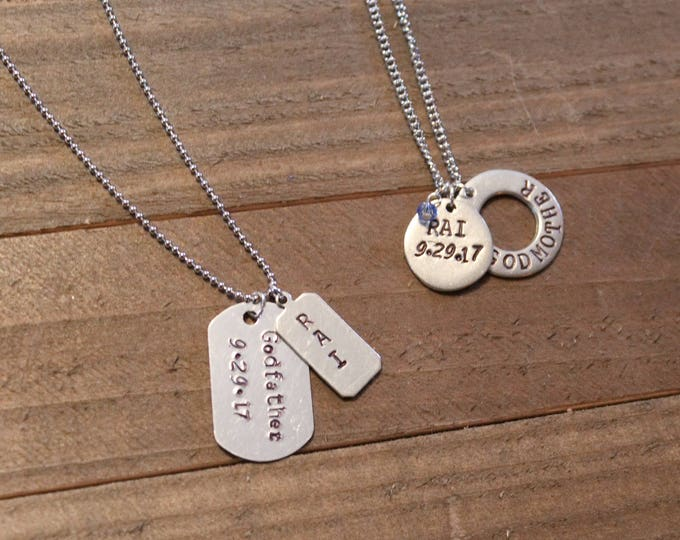 Handstamped God parents jewelry - Godmother jewelry -Godfather jewelry