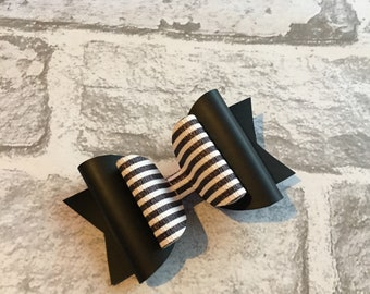 Matte black and humbug hair bow. Hair clip.