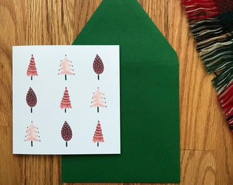 Set of 10 Christmas Cards - Watercolor Trees