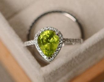 Peridot engagement ring, pear cut, sterling silver