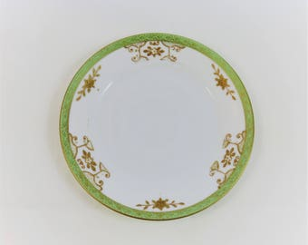 Vintage floral flower white pastel green metallic gold edged dessert small plate tablescape tea party victorian china shabby country chic