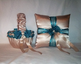 Champagne Satin With Teal Trim Flower Girl Basket And Ring Bearer Pillow Set 2