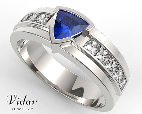 Mens Wedding Band Unique Wedding Ring Trillion Ring Blue