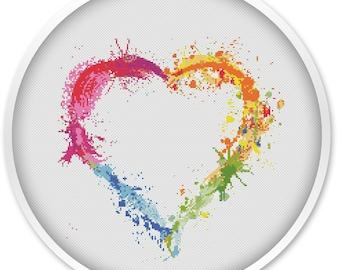 Heart Cross Stitch Pattern, Free shipping, Cross Stitch PDF, Watercolor Cross stitch pattern,  pdf cross stitch, Love, Heart.#003