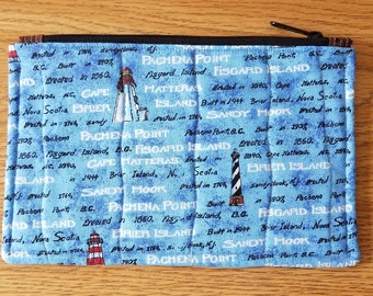 Nautical Lighthouse Quilted Zippered Pouch