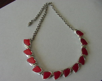 Vintage Red Thermoset Choker Necklace, Costume Jewelry, Silvertone, Molded Plastic, Estate Find