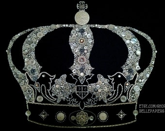 """Button Art Crown 16x20 Swarovski Crystal Art Keep Calm and Carry On Art Button Crown 16""""x20"""""""