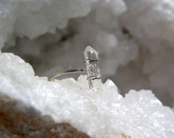 Sterling silver double terminated quartz point ring size UK L 1/2, prong set rock crystal ring