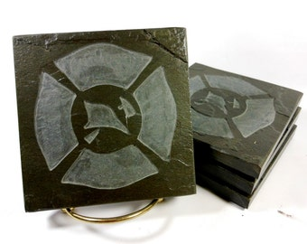 Fireman Coasters - 4 Stone Coasters, Carved Slate Tiles, Maltese Cross Coasters, Gifts for Firefighter, Fireman, First Responder