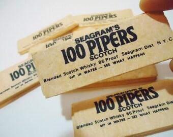 Vintage Seagrams 100 Pipers Scotch Whiskey Barware Souvenir Sponges Collectible Promotional Memorabilia
