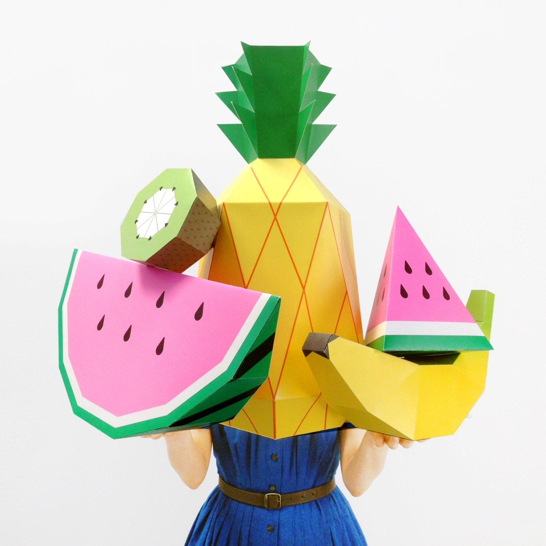 Giant Tropical Fruit Paper Sculpture Kit 3D Paper Craft