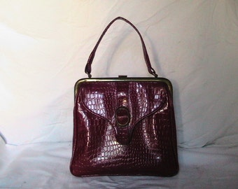 Vintage 1960's Red Patent Leather Handbag