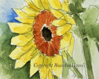 Sunflower Watercolor Wildflower Original Painting Miniature ACEO Garden Gift Housewarming