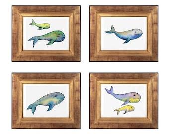 Whale Print Set, Whale Nursery Painting Print Set, Cute Whale Prints, Watercolour Whale Art Set, Nursery Whale Art, Abstract Whale Decor