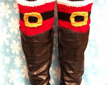 Hand Knit Santa Boot Cuffs!