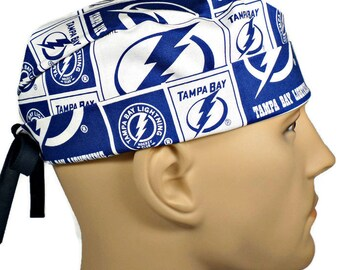 Men's Adjustable Fold-Up Cuffed or Un-Cuffed Surgical Scrub Hat made of Tampa Bay Lightning fabric