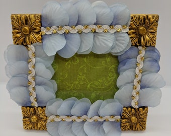 Gold Square Hydrangea Embellished Picture Frame