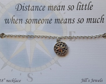 Long Distance Friendship, Best Friend Necklace, Compass Necklace , Charm Necklace, Friendship Necklace. Friends Forever, Graduation Gift