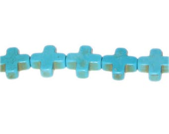 14mm Cross Turquoise Beads, approx. 10 beads