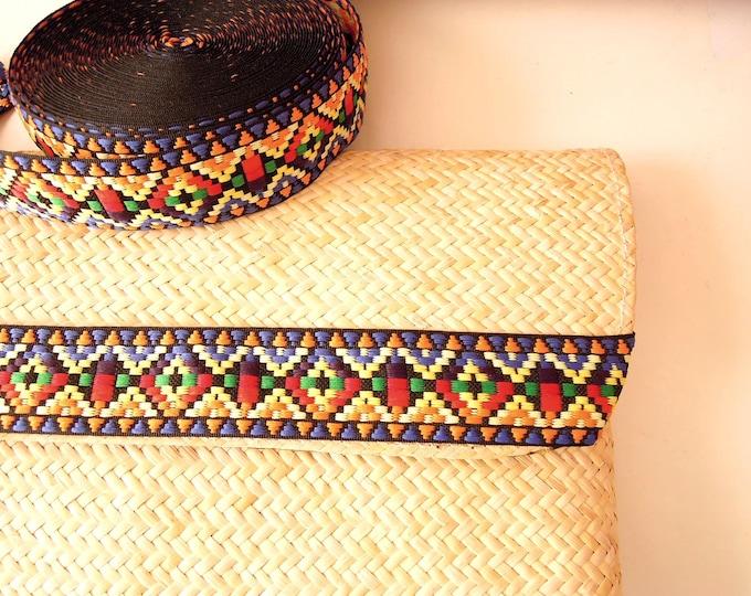 Boho Ibiza hippie cotton woven ribbon 30 mm - Boho trim - Ethnic cotton trim - Jacquard woven hippie ribbon