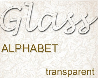 Digital Glass transparent Alphabet for scrapbooking, clipart, Mother's Day gift, Papercrafts, Wedding Decor, Instant Download, #37