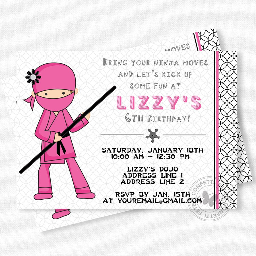 Ninja Birthday Invitation Ninja Party Invitations Girl Ninja
