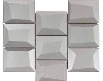 MTO0147 | Modern Squares Silver Glossy Glass Mosaic Tile