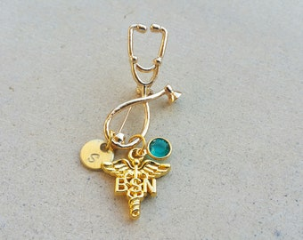 BSN Bachelor of Science Nursing Gold Tone Nurse Handstamped Personalized Crystal Birthstone Initial Brooch Pin