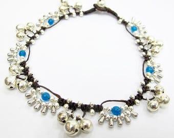 Anklet - Blue Sponge Quartz Bead Little Silver Waterdrop Chic Ankle Bracelet