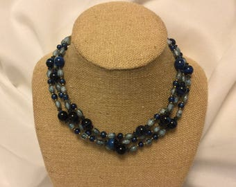 Miriam Haskell 3 Strand Blue Glass beaded choker  - Signed Vintage Collectible Piece - Shades of Blue