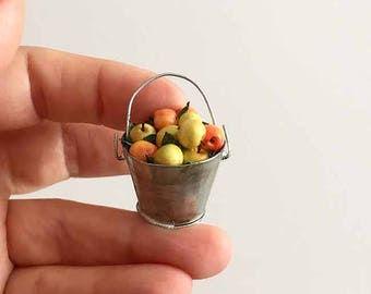Miniature apples in a bucket Hand made