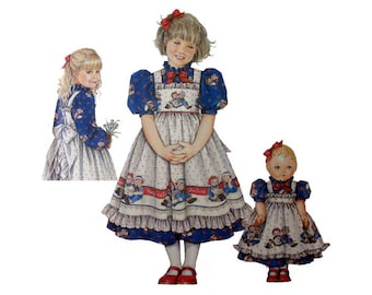 """Girls Dress and Pinafore with Matching 18"""" Doll Clothes Sewing Pattern Toddler Size 5, 6, 7, 8 Uncut Simplicity 9424"""