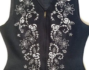 Laura Ashley Vintage Black Wool Women's Vest Cream Floral Embroidery Size Small