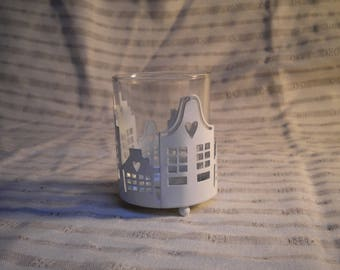 METAL AND GLASS WHITE CANDLE
