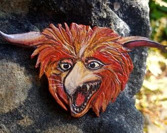 Labyrinth Inspired Firey Leather Brooch