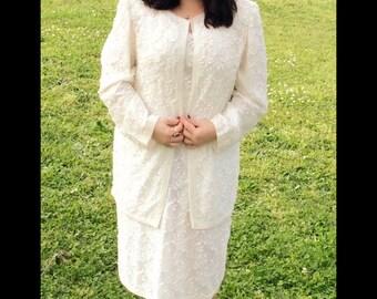 Sassy wedding boutique/white beaded dress/winter white/size14/beaded/dress and jacket/bride/wedding/wedding dress/winter white wedding dress